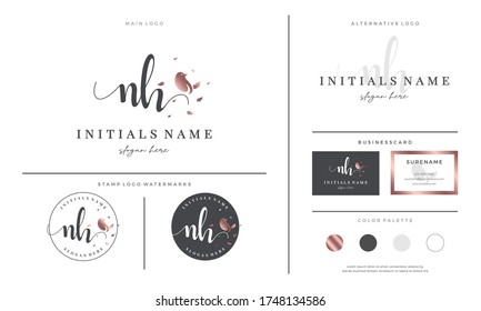 initial letter NH N H handwriting logo design with bird and leaf. Feminine branding for beauty, salon, massage, cosmetics or spa.