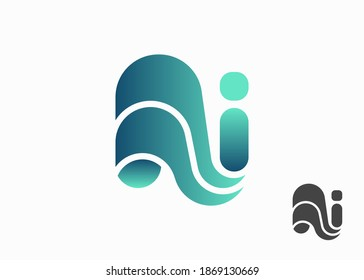 Initial Letter NI 3D Logo, Initial Letter Logo For Company Name, Alphabet Logo Template Ready For Use, Modern Initial Logo
