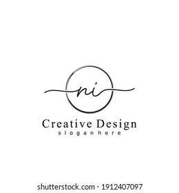 Initial letter NI calligraphy handwritten logo. Handwritten alphabet in the logo template. Letters and Alphabet for your logo design.