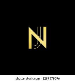 Initial letter NJ JN minimal monogram art logo, gold color on black background.
