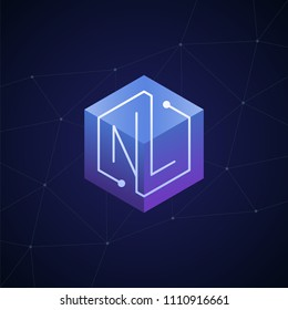 Initial letter NL, block chain, looping mono line circuit letter on hexagon cube logo, blue magenta gradient color on black blue network background