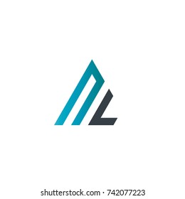 Initial Letter NL Linked Triangle Design Logo