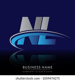 initial letter NL logotype company name colored blue and grey swoosh design. vector logo for business and company identity.