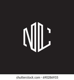 Initial letter NL, minimalist line art monogram hexagon shape logo, white color on black background