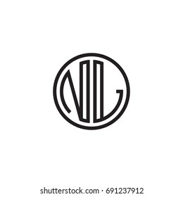 Initial letter NL, minimalist line art monogram circle logo, black color