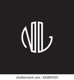 Initial letter NL, minimalist line art monogram circle shape logo, white color on black background