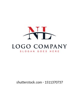Initial letter NL, overlapping movement swoosh horizon logo company design inspiration in red and dark blue color vector