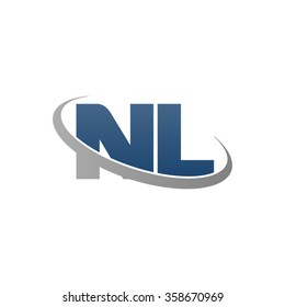 initial letter NL swoosh ring company logo blue gray