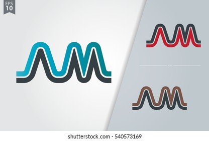 Initial Letter AM NM Linked Design Logo Company