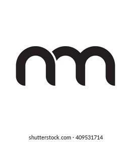 initial letter nm linked round lowercase monogram logo black