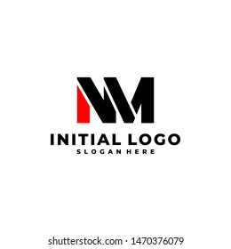 Initial Letter NM Logo Template Design.