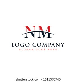 Initial letter NM, overlapping movement swoosh horizon logo company design inspiration in red and dark blue color vector