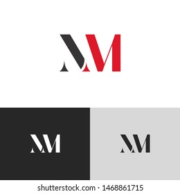 Initial Letter nm uppercase modern logo design template elements. red letter Isolated on black white grey background. Suitable for business, consulting group company.