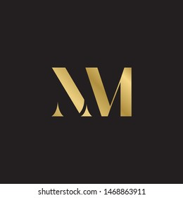 Initial letter nm uppercase modern logo design template elements. Gold letter Isolated on black  background. Suitable for business, consulting group company.
