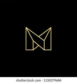 Initial letter NN MM MN NM minimalist art monogram shape logo, gold color on black background