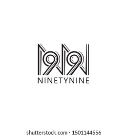 Initial letter NN and number 99 logo design line concept