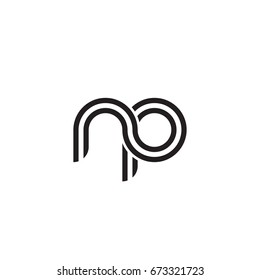 Initial letter np, linked outline rounded lowercase, monogram black