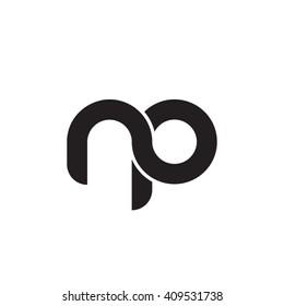 initial letter np linked round lowercase monogram logo black