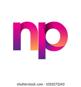 Initial Letter NP Logo Lowercase, magenta and orange, Modern and Simple Logo Design.