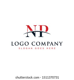 Initial letter NP, overlapping movement swoosh horizon logo company design inspiration in red and dark blue color vector