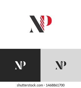 Initial Letter np uppercase modern logo design template elements. red letter Isolated on black white grey background. Suitable for business, consulting group company.