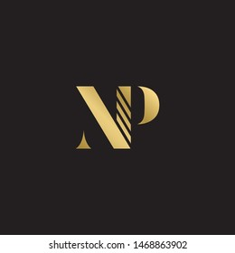 Initial letter np uppercase modern logo design template elements. Gold letter Isolated on black  background. Suitable for business, consulting group company.