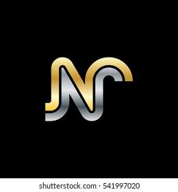 Initial Letter NR Linked Design Logo Gold Silver