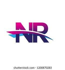 initial letter NR logotype company name colored blue and magenta swoosh design. vector logo for business and company