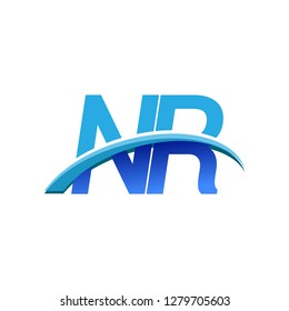 initial letter NR logotype company name colored blue and swoosh design. vector logo for business and company identity.