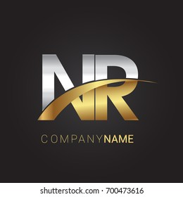 initial letter NR logotype company name colored gold and silver swoosh design. isolated on black
