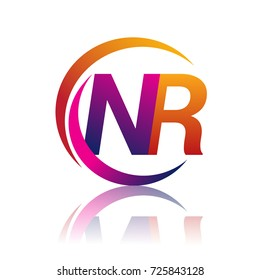initial letter NR logotype company name orange and magenta color on circle and swoosh design. vector logo for business and company identity.
