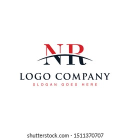 Initial letter NR, overlapping movement swoosh horizon logo company design inspiration in red and dark blue color vector