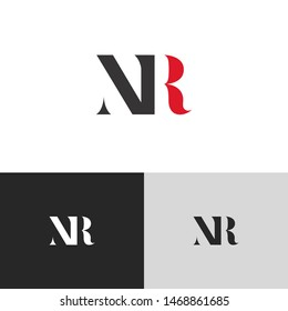 Initial Letter nr uppercase modern logo design template elements. red letter Isolated on black white grey background. Suitable for business, consulting group company.