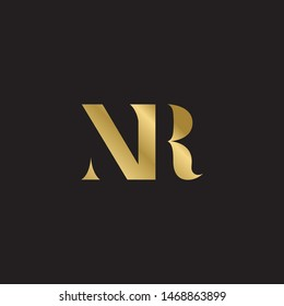 Initial letter nr uppercase modern logo design template elements. Gold letter Isolated on black  background. Suitable for business, consulting group company.