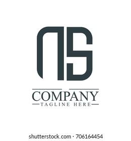 Initial Letter NS Linked Box Design Logo