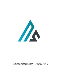 Initial Letter NS Linked Triangle Design Logo