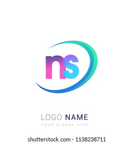 initial letter NS logotype company name, coloreful and swoosh design. vector logo for business and company identity.