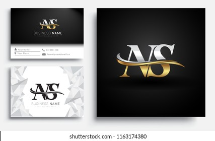 initial letter NS logotype company name colored gold and silver swoosh design. Vector sets for business identity on white background.