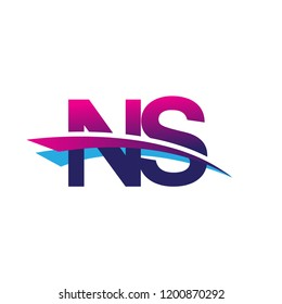 initial letter NS logotype company name colored blue and magenta swoosh design. vector logo for business and company