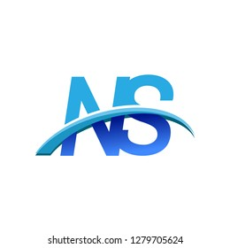 initial letter NS logotype company name colored blue and swoosh design. vector logo for business and company identity.