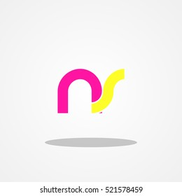 Initial letter NS lowercase logo design template magenta yellow