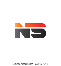 Initial letter NS, straight linked line bold logo, gradient fire red black colors