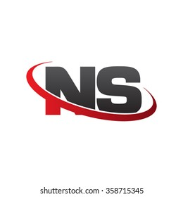 initial letter NS swoosh ring company logo red black