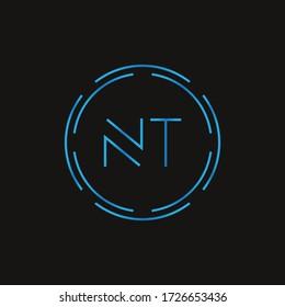 Initial Letter NT Logo Design Vector Template. Digital Abstract NT Letter Logo Design