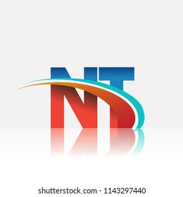 initial letter NT logotype company name colored red and blue and swoosh design. vector logo for business and company identity.