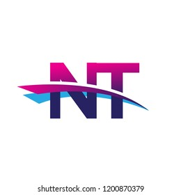 initial letter NT logotype company name colored blue and magenta swoosh design. vector logo for business and company