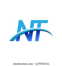initial letter NT logotype company name colored blue and swoosh design. vector logo for business and company identity.