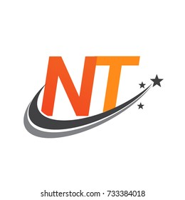 initial letter NT logotype company name colored orange and grey swoosh star design. vector logo for business and company identity.