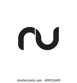 initial letter nu linked round lowercase monogram logo black
