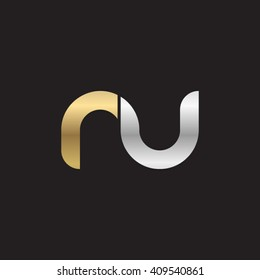 initial letter nu linked round lowercase logo gold silver black background